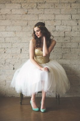 Mini Sequined Wedding Reception Dress Sleeveless Tulle_1
