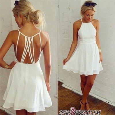 Backless Mini Modest White Sleeveless Homecoming Dress UK_3