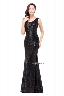 Sleeveless Newest Long Jewel Sequin Mermaid Prom Dress UK_8