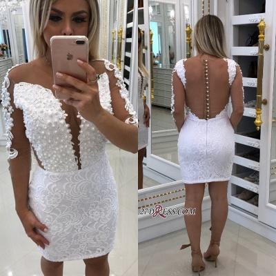 White lace short prom Dress UK, long sleeve homecoming Dress UK_2