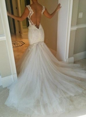 Sexy Mermaid Tulle Open Back Wedding Dresses UK Spagheeti Strapless Lace Bridal Gowns_3