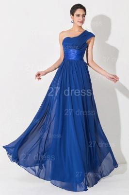 Newest One Shoulder Chiffon Evening Dress UK Royal Blue_2