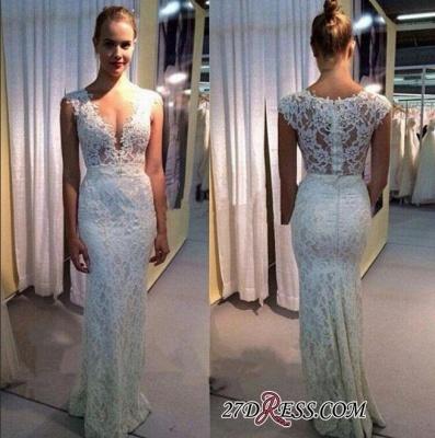 Sleeveless Lace Long Modest Zipper V-neck Wedding Dress_1