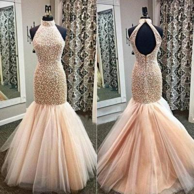 Gorgeous High-Neck Beadings Prom Dress UKes UK Mermaid Zipper Back Floor Length_4