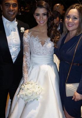 Delicate Lace Appliques Princess Wedding Dress Long Sleeve_5