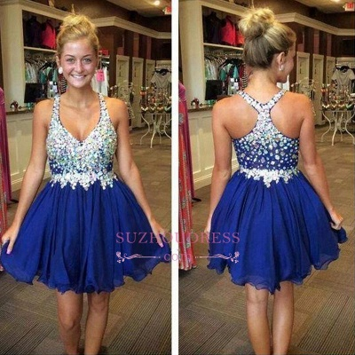 Short Chiffon Sparkly Popular Sleeveless Rhinestone Royal-Blue Homecoming Dress UKes UK BA3806_1
