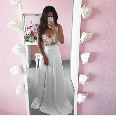 Pretty Summer White Lace Long Sleeveless Prom Dress UK_3