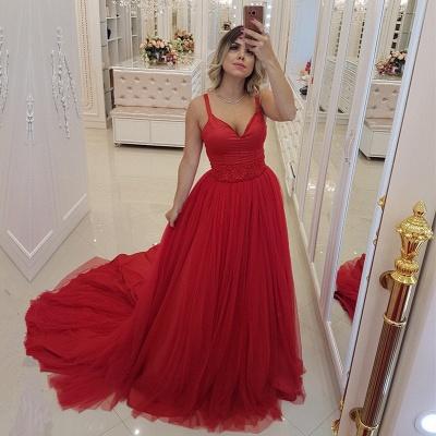 Elegant Red V-Neck Evening Dress UK   2019 Mermaid Tulle Prom Dress UK_2