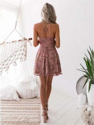 A-Line Pink Floral Homecoming Dress UKes UK | Spaghetti Straps Lace Appliques Cocktail Dress UKes UK_4