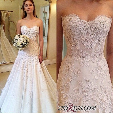 Appliques Sweetheart A-Line Gorgeous Lace Zipper Wedding Dresses UK_1