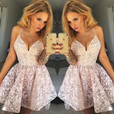 Lovely V-Neck Spaghetti-Straps Homecoming Dress UK | Lace Short Party Dress UK_3