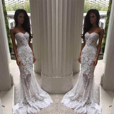 Modern Sweetheart Lace Appliques Prom Dress UK Mermaid Sheer Skirt Floor Length BA3639 BK0_1