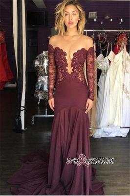 Long-Sleeve Chiffon Sexy Lace Sheer Tulle Burgundy Scoop Evening Dress UK_1