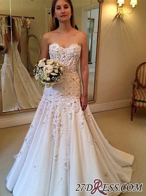 Appliques Sweetheart A-Line Gorgeous Lace Zipper Wedding Dresses UK_2