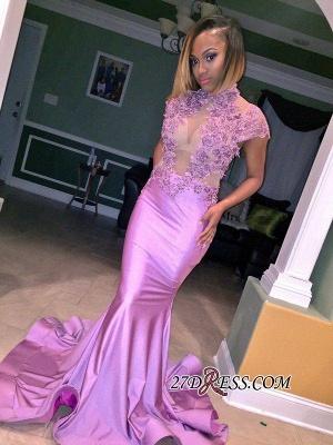 Cap-Sleeve High-Neck Mermaid Lilac Illusion Flowers Appliques Prom Dress UK_1