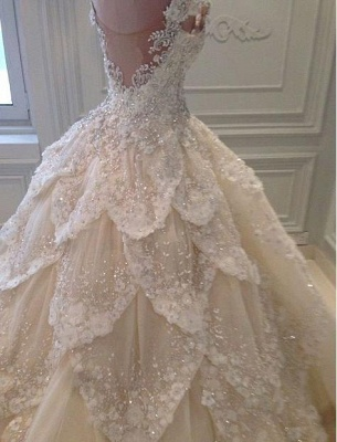 Luxurious Off-the-Shoulder Beads Wedding Dresses UK Ball Gown Long Train_1