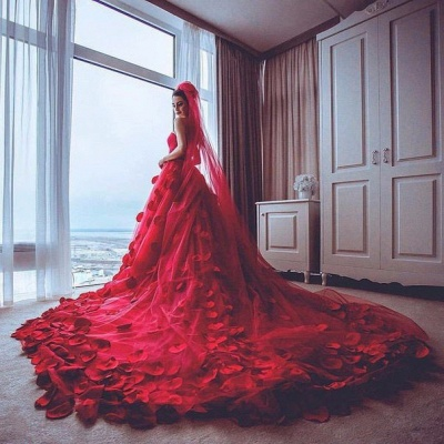 Newest Red Tulle Princess Wedding Dress Flowers Court Train_3