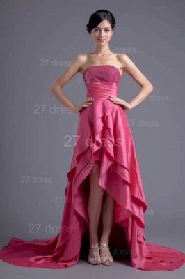 Modern Hi-Lo Sequins Strapless Evening Dress UK Sweep Train_5