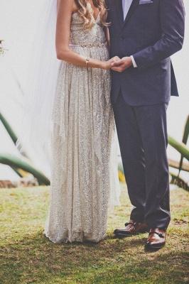 Elegant Spaghetti Strap Sleeveless Wedding Dress Floor-length Sequins_5