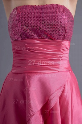 Modern Hi-Lo Sequins Strapless Evening Dress UK Sweep Train_2