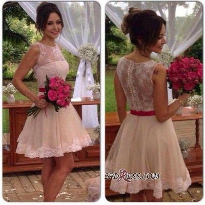 A-line Sleeveless Jewel Mini Sexy Lace Homecoming Dress UK_2
