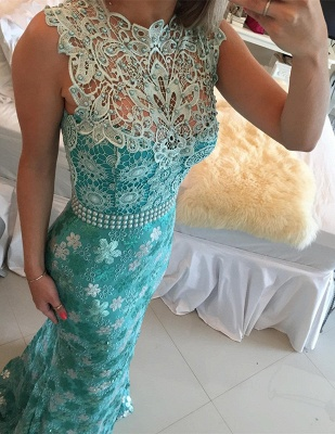 Sexy Sleeveless Lace Pearls Prom Dress UKes UK Mermaid Long Party gown BT0_4