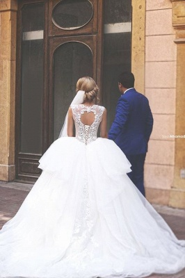Elegant Tulle Ball Gown Wedding Dress Lace Appliques Lace-up_2