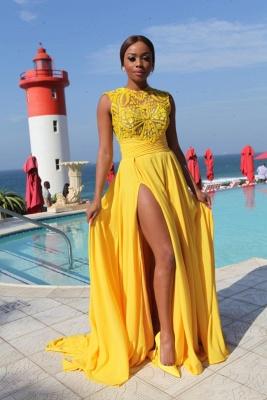 Elegant Illusion Sleeveless Chiffon Prom Dress UK With Front Split BK0_2