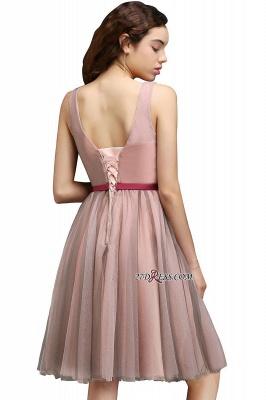 Burgundy-Flowers Romantic V-Neck Sash Open-Back A-line Homecoming Dress UKes UK_5