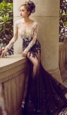 Long-Sleeve Lace Appliques Evening Dress UK | Mermaid Elegant Prom Party Dress UK_1