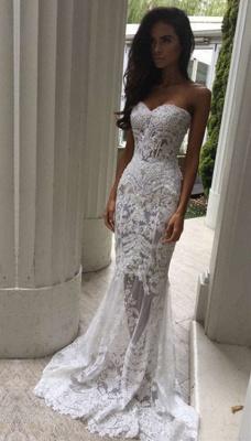 Modern Sweetheart Lace Appliques Prom Dress UK Mermaid Sheer Skirt Floor Length BA3639 BK0_4