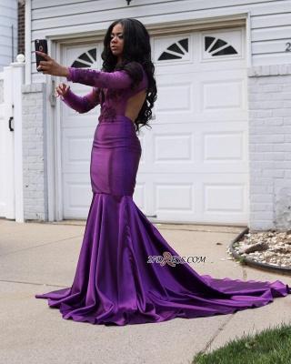 Mermaid Long-Sleeve Purple Lace Wedding Dress UK_1