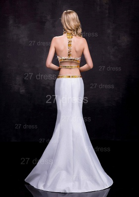 Gorgeous Two Piece Crystals Wedding Dress Sweep Train_3