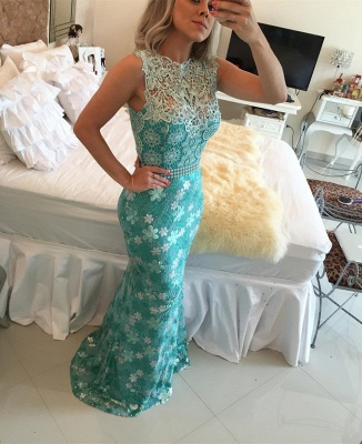 Sexy Sleeveless Lace Pearls Prom Dress UKes UK Mermaid Long Party gown BT0_3