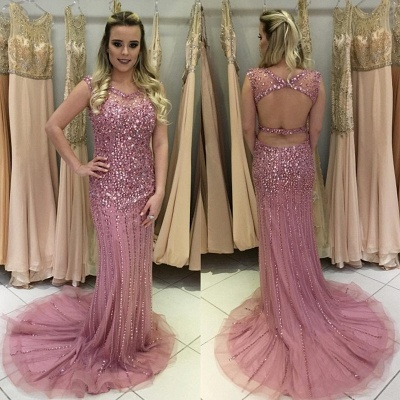 Gorgeous Crystal Rose Pink Sleeveless Prom Dress UK Long On Sale_1