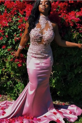 Pink High-Neck Prom Dress UK | Mermaid Lace Evening Gowns_1