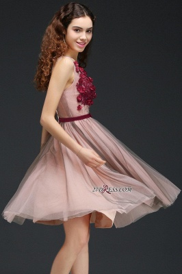 Burgundy-Flowers Romantic V-Neck Sash Open-Back A-line Homecoming Dress UKes UK_3
