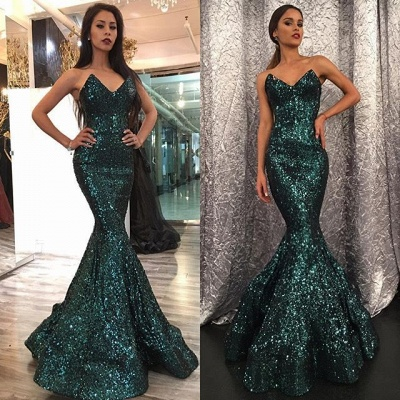 Elegant Sweetheart Mermaid Prom Dress UK With Sequins_3
