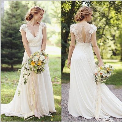 Modern V-neck  Flowers Wedding Dress Sweep Train_3