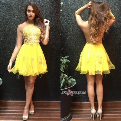 Long Ruffles Mini Appliques Sleeves Yellow Sweet Homecoming Dress UK_2