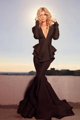 Elegant Black Long Sleeve Evening Dress UKes UK Mermaid V-Neck_1