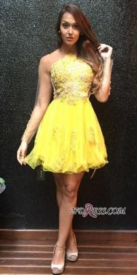 Long Ruffles Mini Appliques Sleeves Yellow Sweet Homecoming Dress UK_3