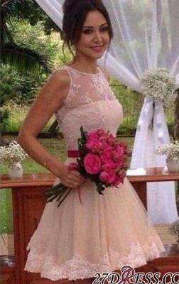A-line Sleeveless Jewel Mini Sexy Lace Homecoming Dress UK_3
