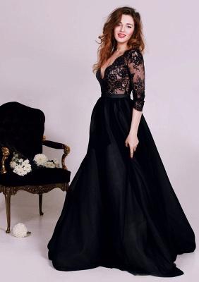 Elegant Black Lace Appliques V-neck Evening Dress UK 3/4-Length Sleeve A-line_1