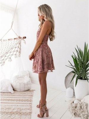 A-Line Pink Floral Homecoming Dress UKes UK | Spaghetti Straps Lace Appliques Cocktail Dress UKes UK_3