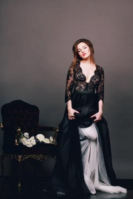 Elegant Black Lace Appliques V-neck Evening Dress UK 3/4-Length Sleeve A-line_4