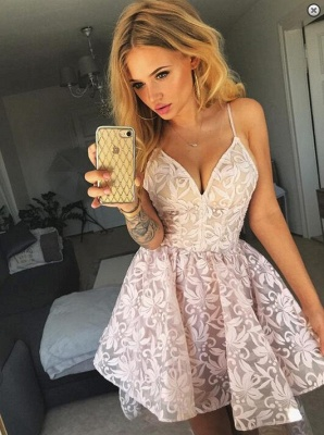 Lovely V-Neck Spaghetti-Straps Homecoming Dress UK | Lace Short Party Dress UK_1