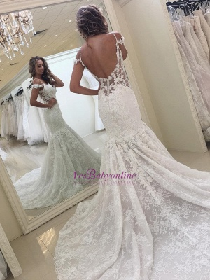 White Mermaid Off-the-shoulder Lace Modern Wedding Dress_1
