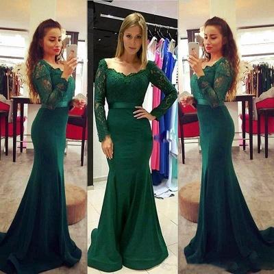 Sexy Long Sleeve Green Mermaid Lace Prom Dress UK On Sale_3