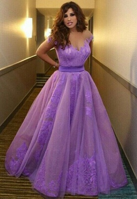 Delicate Off-the-shoulder Tulle Princess Prom Dress UK With Appliques_1